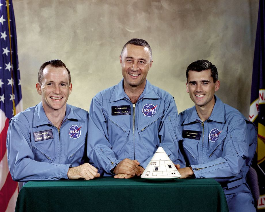Apollo 1 Crew. Left to right: White, Grissom, Chaffee - Public Domain/NASA