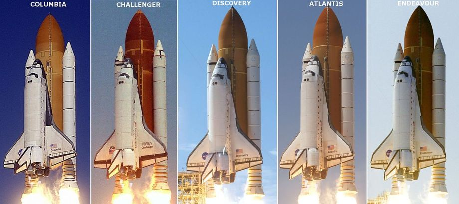 Shuttles Columbia, Challenger, Discovery, Atlantis, and Endeavour