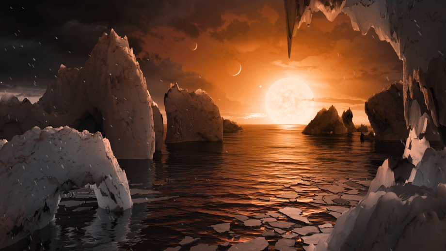 Artist's concept of the surface of TRAPPIST1-f.