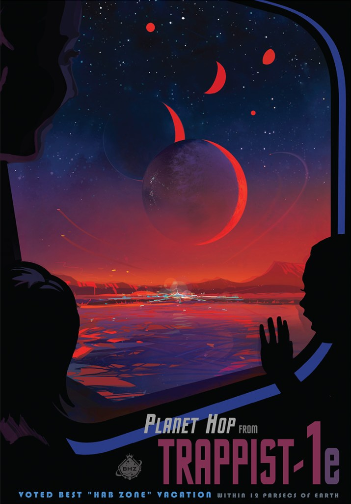 A poster advertising a hypothetical planet-hopping trip in the Trappist-1 system