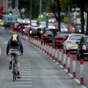 Pop-up cycle lanes set up as part £250million plan to get Britain moving again are lying empty while traffic is squeezing onto narrowed streets, bringing the capital to a halt, it can be revealed. Pictured: A pop up cycle lane on West Derby Road, Liverpool