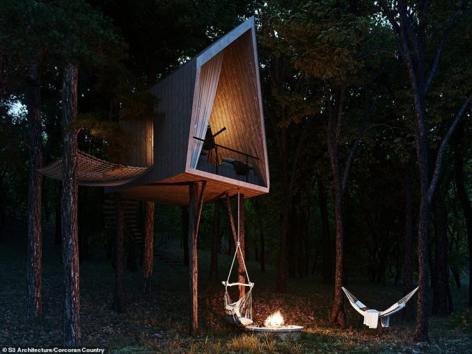 TREEHOUSE: This unusually-shaped structure with a spiral staircase and hammocks hung between trees will be part of the property's enormous gardens