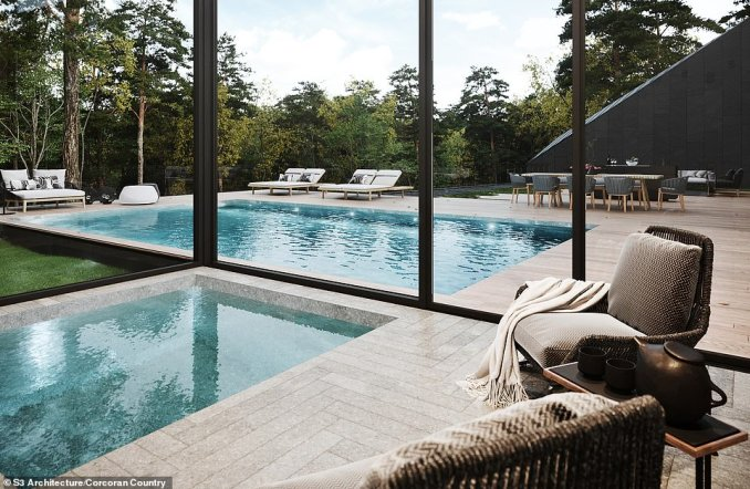 POOL HOUSE: An indoor area for swimming in colder or wetter weather, although still with expansive views of the grounds