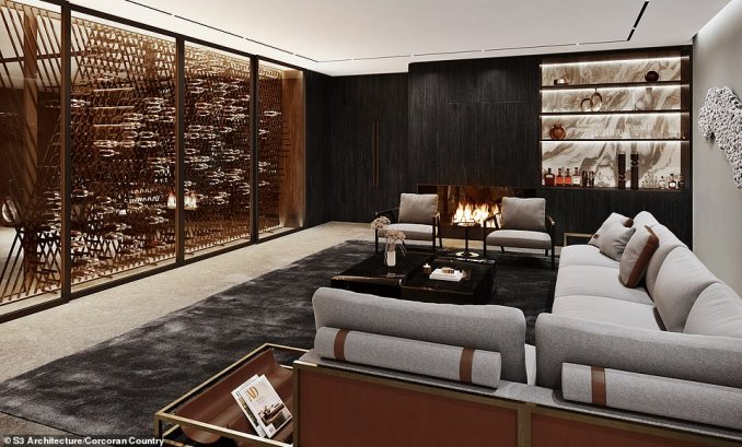 LOUNGE: This room, which is shown here with a fireplace, shelves and a sofa and chairs around a table, has a partial view of the garage where the owner could park their Aston Martins