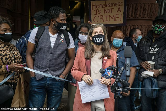 The supporters, led by city Public Advocate Jumaane Williams (second left), New York State Assemblymember Linda B Rosenthal (center) and the UWS Open Hearts initiative, convened at the hotel on West 79th Street to wrap a blue 'ribbon of love' around the building