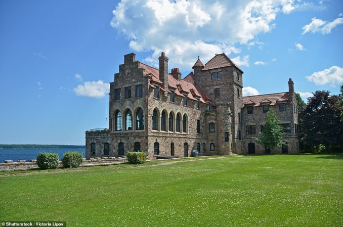 Singer Castle on Dark Island. The Gothic revival property was commissioned by Frederick Bourne, who was the fifth President of the Singer Sewing Machine Company