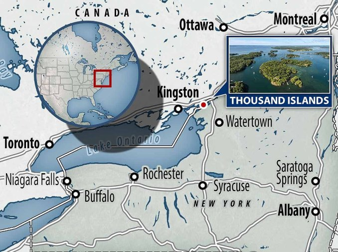 Thousand Islands is located on the Saint Lawrence River, which straddles Ontario and New York State on the U.S-Canada border. It consists of a staggering 1,864 islets