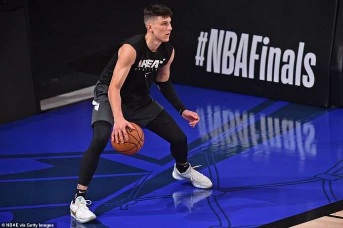Miami Heat rookie guard Tyler Herro warms up before Game 6 of the NBA Finals on Sunday night outside Orlando, Florida