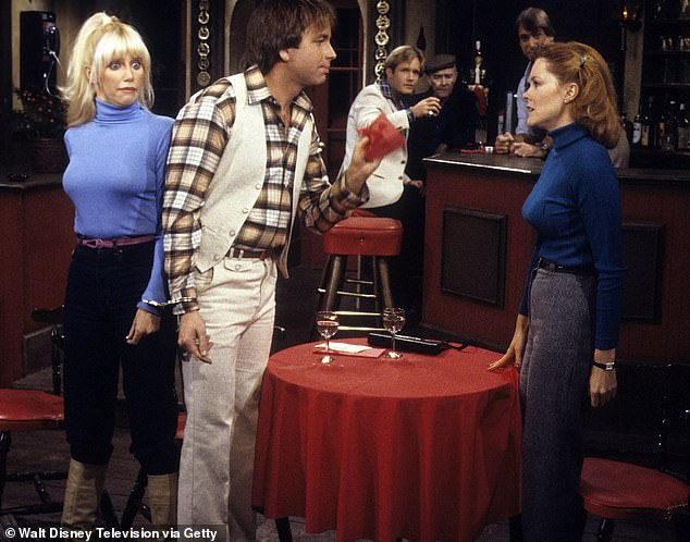 A hit! She came to fame with John Ritter on Three's Company which debuted in 1976; Heather Lowe is far right