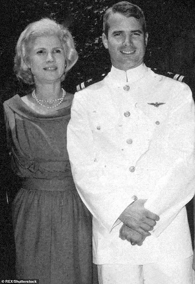 John McCain and his mother Roberta McCain; John McCain was captured in Vietnam in 1967 and was taken prisoner after his plane was shot down. He refused an early release, knowing it would give North Vietnam a propaganda victory and demoralize U.S. troops