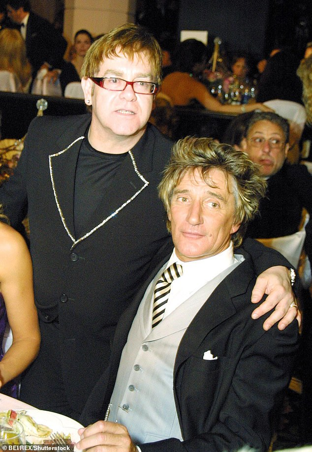 Feud:The stars fell out at some point two years ago, when the Maggie May rocker poked fun at the Your Song singer's retirement tour and again in 2019 after he made a remark about the biopic based on Elton's career called Rocketman (pictured in 2002)