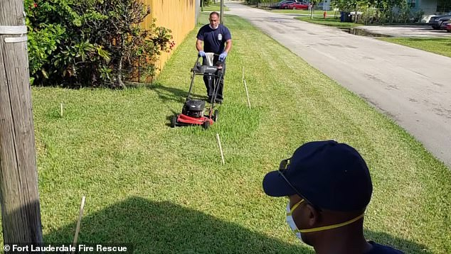 After Pinkney collapsed from heat exhaustion, paramedics treated him until he fully recovered. They then took it upon themselves to finish mowing his lawn