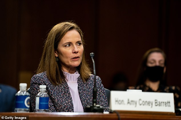 The change came one day after Amy Coney Barrett's use of the phrase was slammed during her SCOTUS hearing (Barrett pictured at Wednesday's hearing)