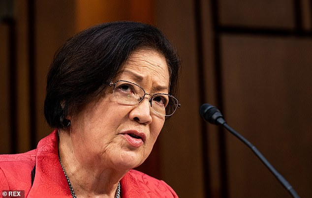 Senator Hirono (above) blasted Barrett's use of the 'offensive' term during day two of the judge's Supreme Court confirmation hearings