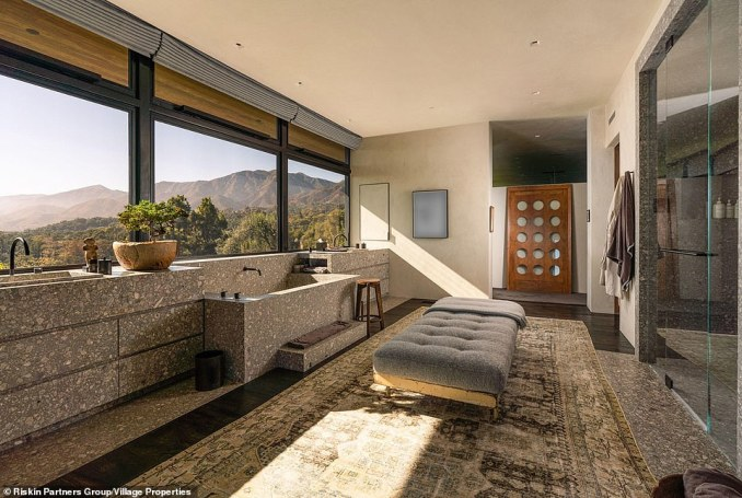 Dubbed Salt Hill, the property is in Montecito and has unobstructed views of the mountains. One of the bathrooms is pictured