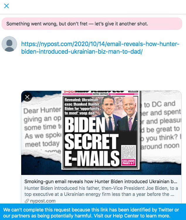 GOP senators fumed that users were unable to share information from the New York Post about Bidens and alleged secret emails