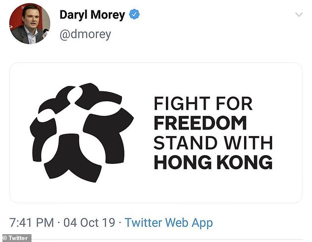 Houston Rockets' general manager, Daryl Morey, apologized for the tweet he swiftly deleted that included an image of the activists' rally cry: 'Fight for freedom, stand with Hong Kong'