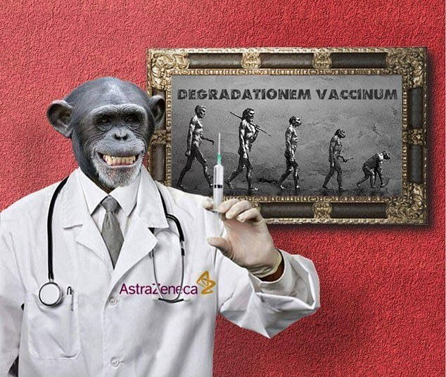 Another image shows a chimpanzee in a lab coat from pharmaceutical giant AstraZeneca – which is manufacturing the vaccine – brandishing a syringe