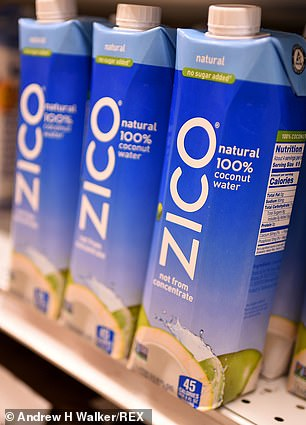 Gone flat: Coca-cola will also phase out its ZICO coconut water and Diet Coke Feisty Cherry (right) as well as certain international brands