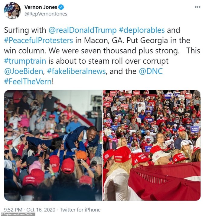 Rep. Vernon Jones tweeted pictures of the crowd and of his antics as he dived in