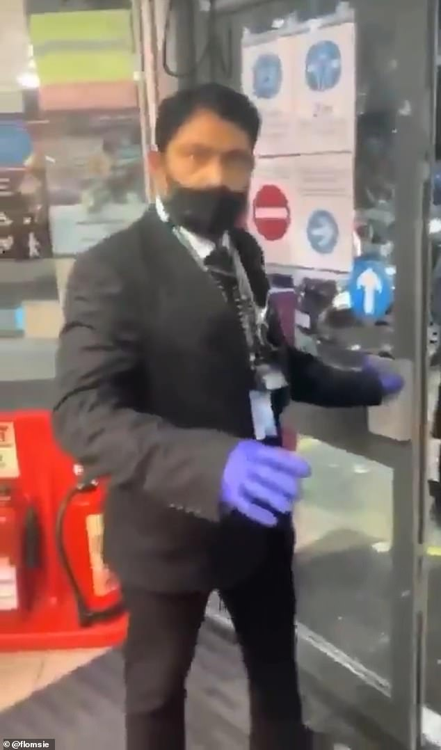 Security at the shop has been criticised for not attempting to intervene in the assault, with the man filming the footage asking the guard 'What the f**k did you do?' and urging the shop to 'Fire your security now!'