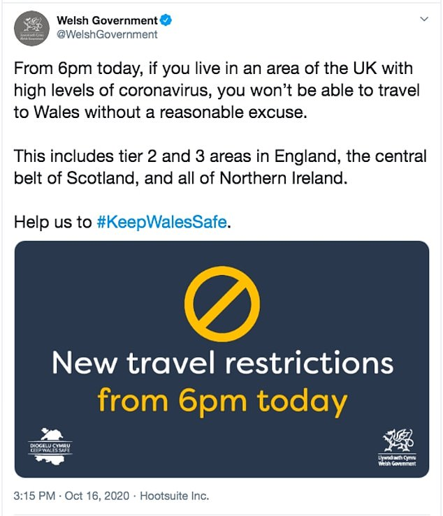 The Welsh Government yesterday issued a tweet (above) setting out the new restrictionsbut there have so far been no reports of drivers being stopped