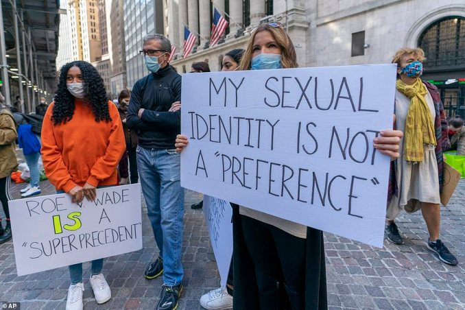 "Protesters hold up signs in support of upholding the Roe v. Wade Supreme Court decision legalizing abortion. Another protester holds a sign that reads: 'My sexual identity is not a ""preference""'"