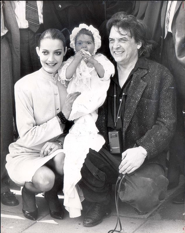 David Bailey and Catherine Dyer at christening of their daughter Paloma Lola Bailey in1986