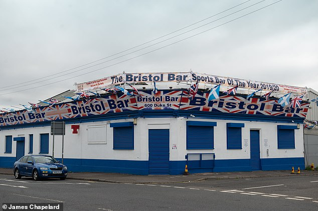 The iconic Bristol Bar, Duke Street, Glasgow, less than a mile from Park Head would normally be filled with Rangers fans on an Old Firm day but today was shut because of restrictions in Scotland
