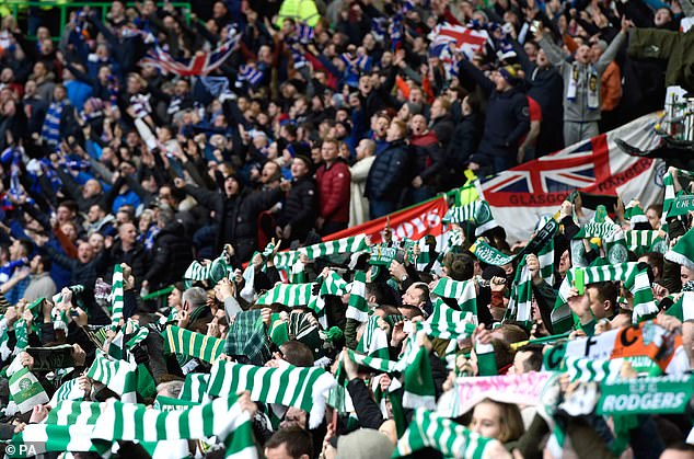 Before coronavirus, a typical Old Firm derby would see Celtic Park's 60,000 seat capacity filled. Pictured:Rangers and Celtic fans segregated during a 2017 Scottish Premiership match