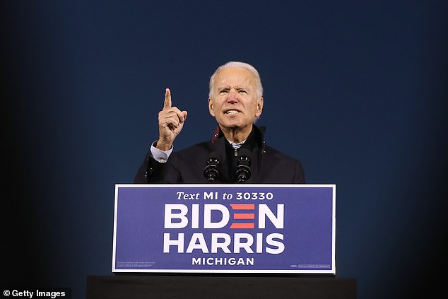 In the video, Voight immediately slams Democratic presidential nominee, Joe Biden (pictured on Friday), and the liberal left. 'Biden is evil. Trump must win. He's real. He will bring back the people's trust,' Voight began