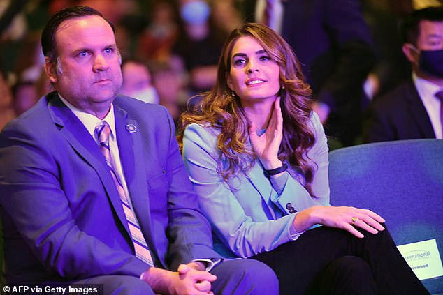 Deputy Chief of Staff for Communications Dan Scavino (left) andHope Hicks (right), senior adviser to the president attended services Sunday with President Donald Trump