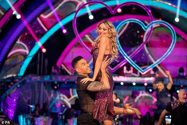 Up to nine million viewers tuned in to watch the celebrities pair up with their counterparts. Pictured: American football player star Jason Bell with professional dancer Luba Mushtuk