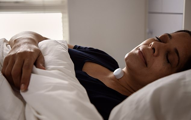 Sleeping partner: The AcuPebble on the neck records heart and lung vibrations and transmits data to an app, detecting breathing patterns associated with sleep apnoea