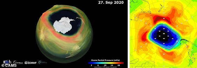 The ozone hole over the Antarctic has reached its 2020 peak and is one of the largest holes of recent years. Pictured left, a computer generated image and right, a satellite image of the hole (blue)