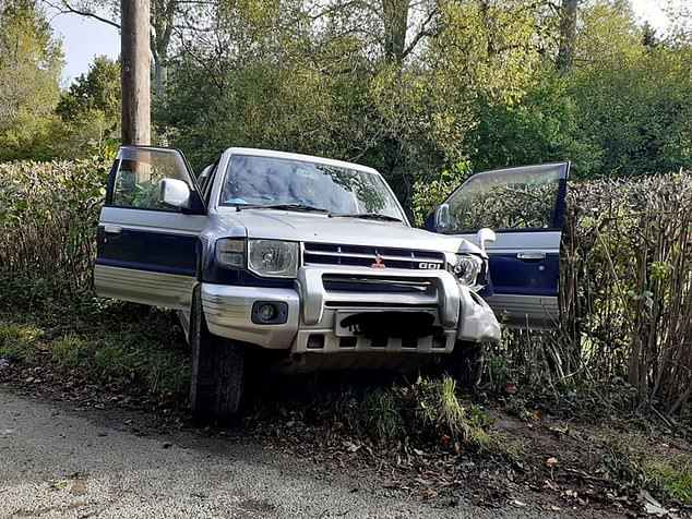 The campaigners' pickup truck was left considerably damaged following the incident in Brightling