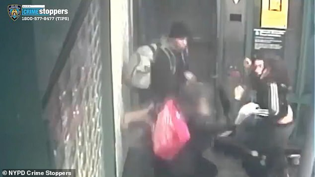 As the two scuffle and wind up outside of the elevator, the woman's male friend proceeds to assist in the pummeling of the older woman