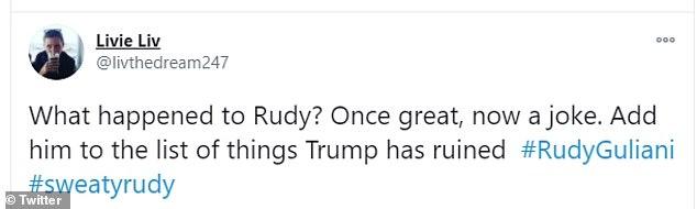 Giuliani earned himself the nickname 'Sweaty Rudy' after Thursday's press conference