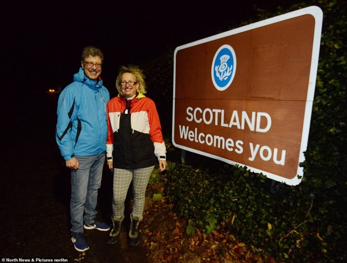 Gill and Iain Dickson (pictured), who live in the border village of Coldstream, Scotland were tonight careful not to cross the border line into England as they usually would while on their evening stroll