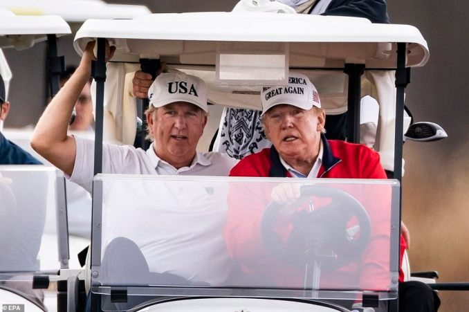 President Trump (right) played golf for the 298th time since becoming president at the Trump National Golf Club in Sterling, Virginia, on Sunday following the first day of the G20 summit