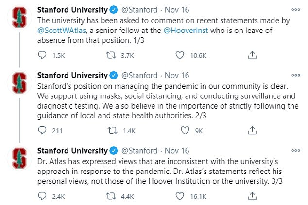 Earlier this week Stanford released a statement saying that Atlas' statements about COVID-19 did not reflect the position of the university or the Hoover Institution, which both firmly support the use of face masks and social distancing