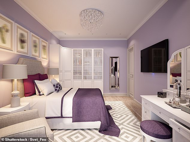 Soft purple or blue in the bedroom will help to relax, but magenta and red colours will also encourage sexual energy (stock picture)