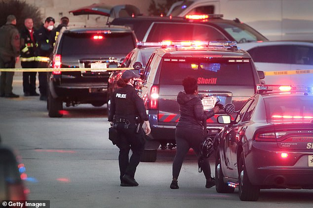 As night fell on Friday officers were still scouring the scene of the shooting