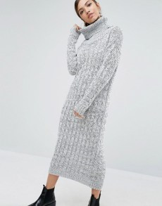 asos pull robe col roulé gris