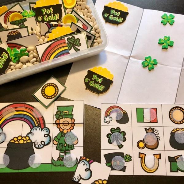 St. Patrick's Day Puzzle Sensory Bin