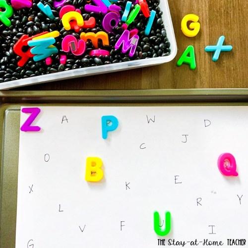 Alphabet Magnet Sort Sensory Bin