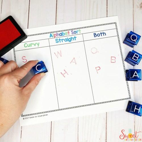 Alphabet Sort Stamps Sweet for Kindergarten