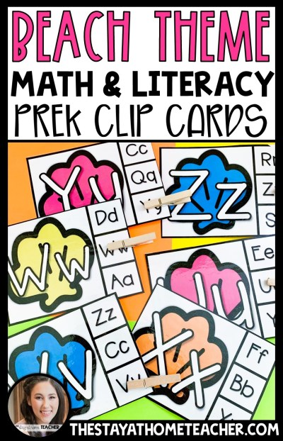beach preschool clip cards