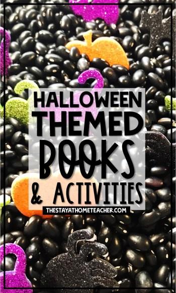 halloween books and activities pin