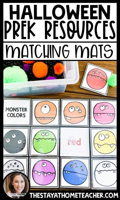 halloween sensory bin matching mats